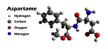 Estructura del aspartamo 3D Foto de archivo libre de regalías