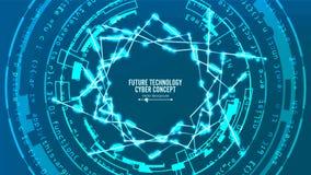 Estructura futurista de la conexión de la tecnología Fondo abstracto del vector Concepto cibernético futuro Hola diseño de Digita libre illustration