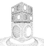 Estructura futurista del rascacielos de la ciudad de la megalópoli Fotografía de archivo libre de regalías