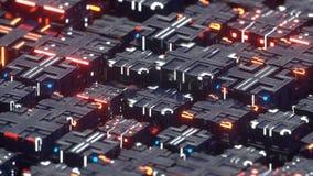 Estructura futurista del techno de la representación metálica de los cubos 3D stock de ilustración