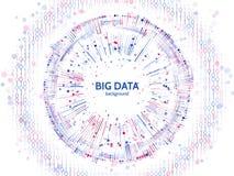 Estructura grande de la conexión de datos Elemento abstracto con las líneas, los puntos y código binario Visualización grande de  Imágenes de archivo libres de regalías