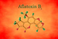 Estructura molecular de la aflatoxina B1, una toxina hepatotóxica y carcinógena potente producida por el aspergillus de los hongo stock de ilustración