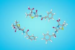 Estructura molecular de la penicilina Los ?tomos se representan como esferas con la codificaci?n policrom?tica convencional: azuf stock de ilustración