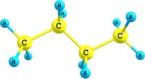 Estructura molecular del butano en blanco Foto de archivo