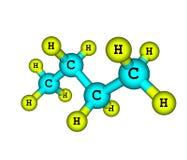 Estructura molecular del butano en blanco Imágenes de archivo libres de regalías