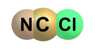 Estructura molecular del cloruro de cianógeno aislada en blanco Imagenes de archivo