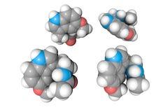 Estructura molecular del melatonin Los átomos se representan como esferas con la codificación policromática convencional: hidróge ilustración del vector