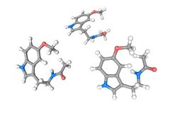 Estructura molecular del melatonin Los ?tomos se representan como esferas con la codificaci?n policrom?tica convencional: hidr?ge libre illustration
