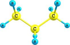 Estructura molecular del propano en blanco Imagenes de archivo