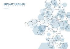 Estructura molecular hexagonal azul del extracto del sistema de las neuronas Fondo de la tecnolog?a de Digitaces Plantilla geom?t libre illustration