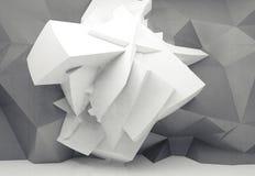 Estructura poligonal caótica blanca en la pared gris 3d Imágenes de archivo libres de regalías