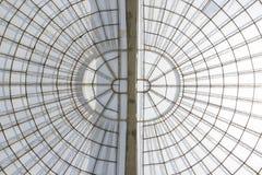 Estructura vertial de la bóveda simétrica del invernadero vista de debajo Foto de archivo