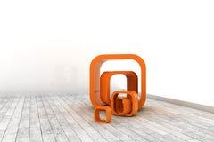 Estructuras anaranjadas en un cuarto blanco Fotografía de archivo libre de regalías