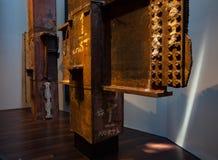 9-11 estructuras de acero de los tridentes conmemorativos del museo del destruidas Fotografía de archivo