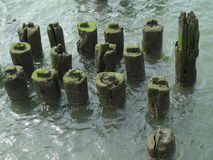 Estructuras de madera en un embarcadero a lo largo del río Imagenes de archivo