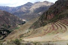 Estructuras del inca en el sector urbano de Pisac Fotos de archivo libres de regalías