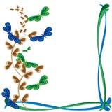 Estrutura abstrata com filiais e borboletas Fotografia de Stock