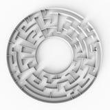 Estrutura circular do labirinto 3d com um espaço livre no centro Imagens de Stock Royalty Free