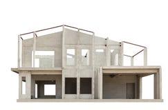 A estrutura da casa na construção isolou o fundo branco fotos de stock