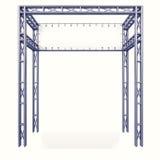 Estrutura da construção do metal com parte traseira da placa branca Imagens de Stock