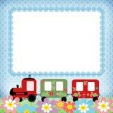 Estrutura da foto das crianças do trem do bebê no azul Fotos de Stock