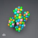 estrutura da molécula 3D Estilo futurista da tecnologia vetor 3d Fotos de Stock Royalty Free