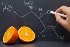 Estrutura da vitamina C Fotografia de Stock Royalty Free