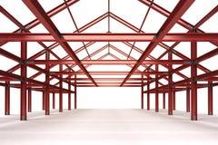 estrutura de aço vermelha que constrói a opinião de perspectiva interior ilustração royalty free