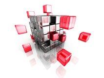Estrutura de blocos metálica e vermelha do cubo Commun dos trabalhos de equipa do negócio Fotos de Stock Royalty Free