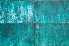 Estrutura de cobre resistida, oxidada da parede fotos de stock royalty free