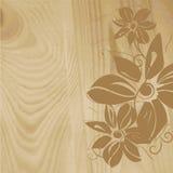Estrutura de madeira com teste padrão de flor Fotografia de Stock Royalty Free