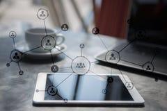 Estrutura de organização Rede do social do ` s dos povos Conceito do negócio e da tecnologia imagens de stock royalty free