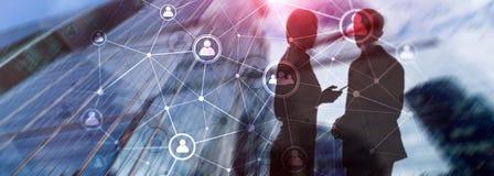 Estrutura de rede hora dos povos da exposição dobro - gestão de recursos humanos e conceito do recrutamento foto de stock