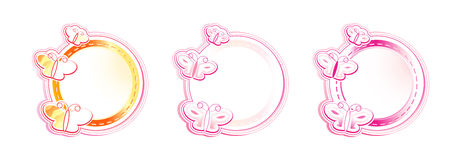Estrutura de três círculos com borboletas Imagens de Stock Royalty Free