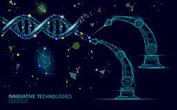 Estrutura do ADN 3D que edita o conceito da medicina Doença genética da baixa cura poligonal poli da terapia genética do triângul ilustração royalty free