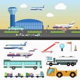 A estrutura do aeroporto e os veículos especiais ajustaram-se no branco ilustração stock
