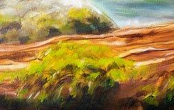 Estrutura do log de madeira coberta com o musgo no beira-rio, detalhe da pintura do close up Imagens de Stock Royalty Free