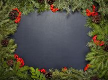 Estrutura do Natal com a árvore de abeto sempre-verde, os cones e as jujubas do azevinho imagens de stock royalty free