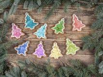 Estrutura do Natal com cookies do pão-de-espécie imagem de stock