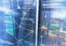 Estrutura do sumário da rede dos Wi fi no fundo moderno da sala do servidor ilustração royalty free