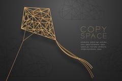 Estrutura dourada do quadro do polígono do wireframe de Diamond Kite e da nuvem, ilustração do projeto de conceito da estrutura d ilustração stock