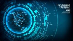 Estrutura futurista da conexão da tecnologia Fundo abstrato do vetor cyberspace Os dados eletrônicos conectam global ilustração royalty free
