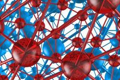 estrutura geométrica molecular de vidro azul e vermelha do sumário do caos Rende do fundo 3d da olá!-tecnologia da conexão de red Foto de Stock Royalty Free