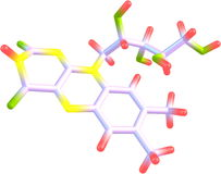 Estrutura molecular da riboflavina (B2) no fundo branco Foto de Stock Royalty Free