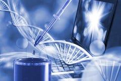 Estrutura molecular e corrente do fim do ADN acima imagem de stock