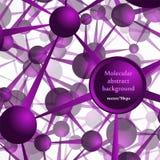 A estrutura molecular, os átomos Fundo abstrato em tons roxos ilustração do vetor