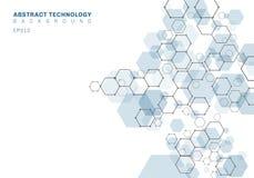 Estrutura molecular sextavada azul do sumário do sistema dos neurônios Fundo da tecnologia de Digitas Molde geom?trico futuro ilustração royalty free