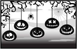 Estrutura preto e branco com abóboras ilustração royalty free
