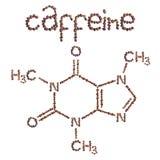 Estrutura química da molécula da cafeína A fórmula estrutural da cafeína com os feijões de café do marrom escuro Fotografia de Stock Royalty Free