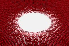 Estrutura vermelha muito detalhada do labirinto com espaço oval vazio no centro Fotografia de Stock Royalty Free